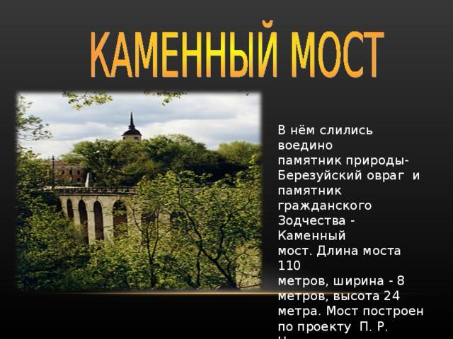 В нём слились воедино памятник природы- Березуйский овраг и памятник гражданского Зодчества - Каменный мост. Длина моста 110 метров, ширина - 8 метров, высота 24 метра. Мост построен по проекту П. Р. Никитина.