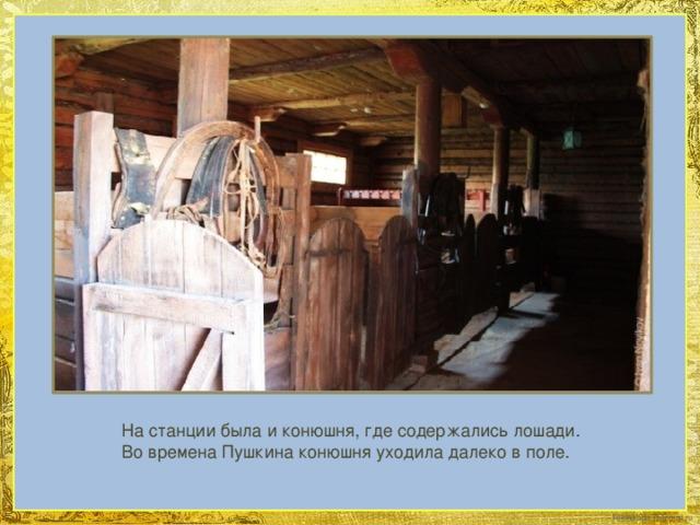 На станции была и конюшня, где содержались лошади. Во времена Пушкина конюшня уходила далеко вполе.