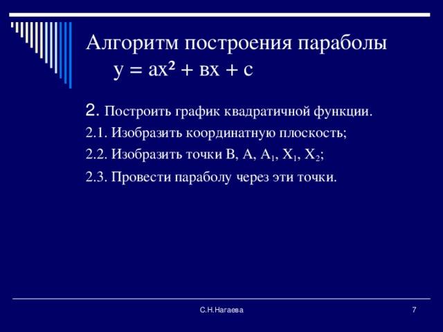 Алгоритм построения параболы у = ах ² + вх + с 2. Построить график квадратичной функции. 2.1. Изобразить координатную плоскость; 2.2. Изобразить точки В, А, А 1 , Х 1 , Х 2 ; 2.3. Провести параболу через эти точки. С.Н.Нагаева