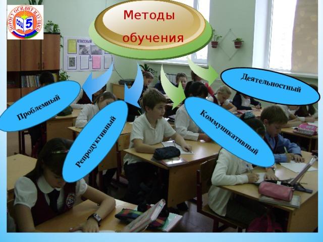 Деятельностный Проблемный Репродуктивный Коммуникативный Методы  обучения 5