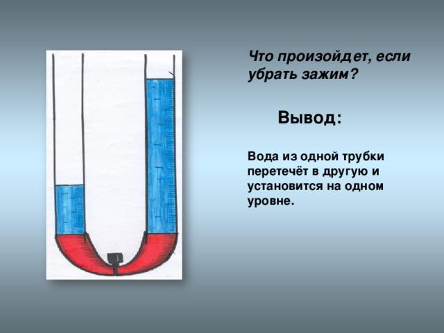 Что произойдет, если убрать зажим? Вывод:    Вода из одной трубки перетечёт в другую и установится на одном уровне.