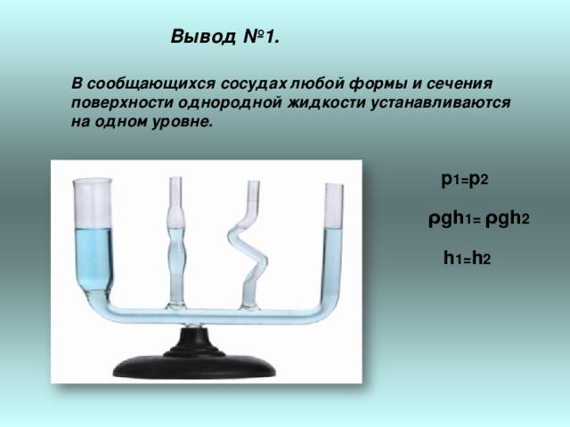 Вывод №1. В сообщающихся сосудах любой формы и сечения поверхности однородной жидкости устанавливаются на одном уровне.  р 1= р 2    ρgh 1= ρgh 2    h 1= h 2
