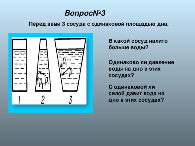 Вопрос№3 Перед вами 3 сосуда с одинаковой площадью дна. В какой сосуд налито больше воды? Одинаково ли давление воды на дно в этих сосудах? С одинаковой ли силой давит вода на дно в этих сосудах?