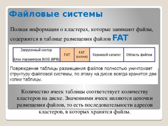 Файловые системы Полная информация о кластерах, которые занимают файлы, содержится в таблице размещения файлов FAT Количество ячеек таблицы соответствует количеству кластеров на диске. Значениями ячеек являются цепочки размещения файлов, то есть последовательности адресов кластеров, в которых хранятся файлы.
