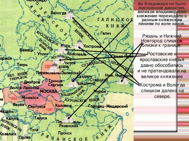 Во Владимире не было постоянной династии,  великое владимирское княжение переходило к разным княжеским линиям по воле ханов. Рязань и Нижний Новгород слишком близки к границе. Ростовские и ярославские князья давно обособились  и не претендовали на великое княжение Кострома и Вологда слишком далеко на севере.
