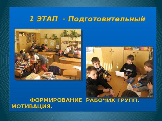 Формирование рабочих групп. Мотивация.  1 ЭТАП - Подготовительный