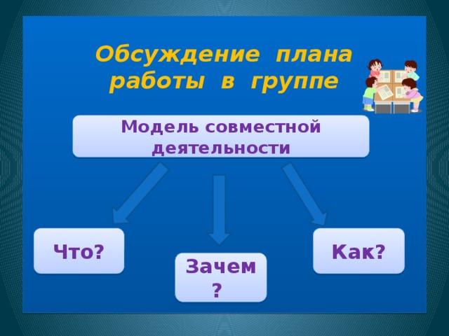 Обсуждение плана  работы в группе        Модель совместной деятельности  Как? Что?  Зачем?