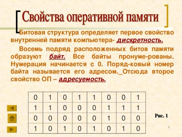 Битовая структура определяет первое свойство внутренней памяти компьютера- дискретность. Восемь подряд расположенных битов памяти образуют  байт.  Все байты пронуме-рованы. Нумерация начинается с 0. Поряд-ковый номер байта называется его адресом.  Отсюда второе свойство ОП – адресуемость. 0 1 1 0 0 1 1 1 0 0 1 0 0 0 1 0 0 0 0 0 0 1 1 1 1 1 1 0 0 1 0 0 Рис. 1