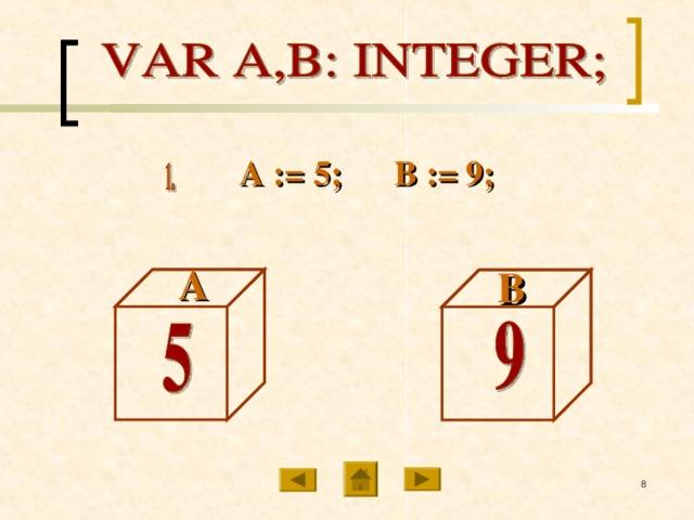 А := 5; В := 9; А В