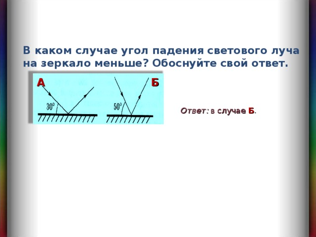 В каком случае угол падения светового луча на зеркало меньше? Обоснуйте свой ответ. A Б Ответ :  в случае Б .