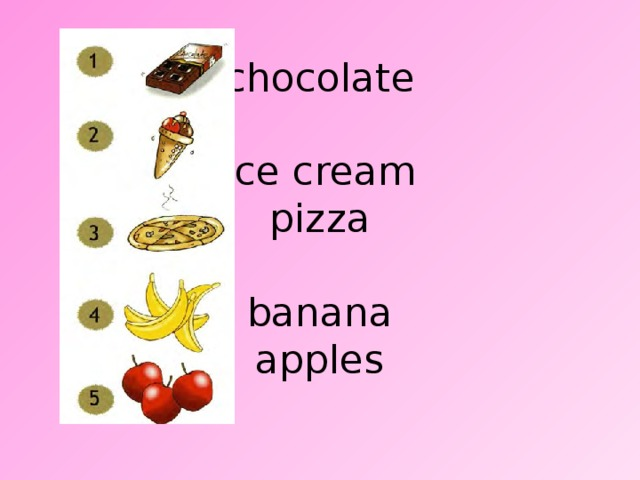 chocolate   ice cream  pizza   banana  apples