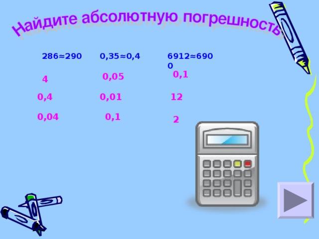 286≈290 0,35≈0,4 6912≈6900 0,1 0,05 4 0,4 0,01 12 0,04 0,1 2