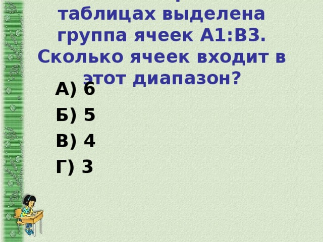 7. В электронных таблицах выделена группа ячеек А1:В3. Сколько ячеек входит в этот диапазон?   А) 6 Б) 5 В) 4 Г) 3