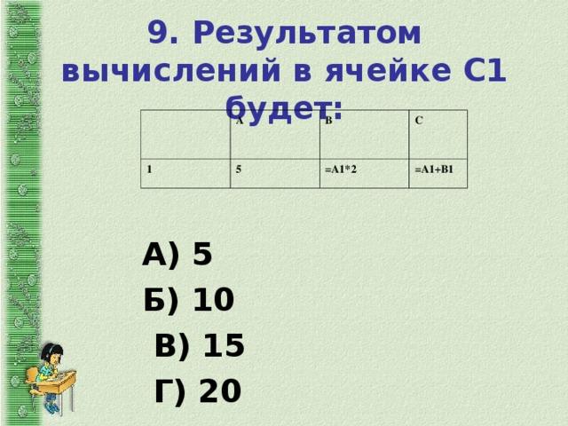 9. Результатом вычислений в ячейке С1 будет:   А 1 5 В С =А1*2 =А1+В1 А) 5 Б) 10  В) 15  Г) 20