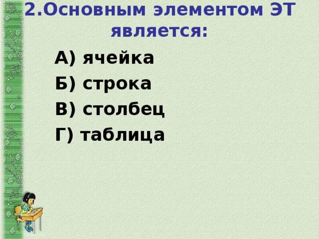 2.Основным элементом ЭТ является:   А) ячейка Б) строка В) столбец Г) таблица
