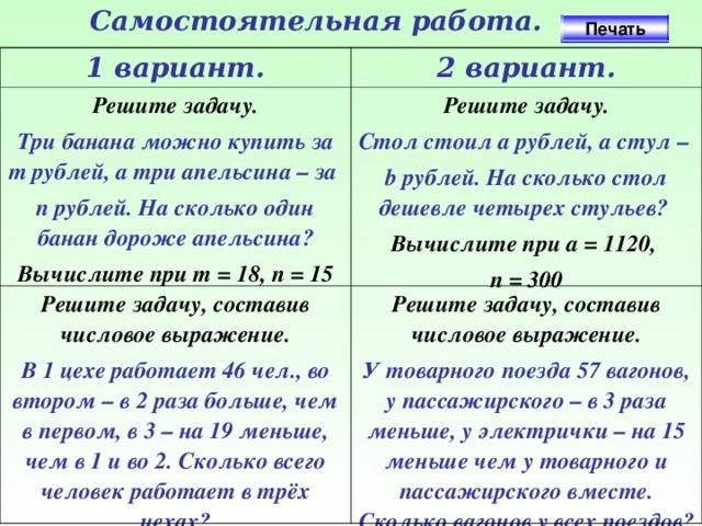 Решение задачи составив числовое выражение решение задач с использованием эт