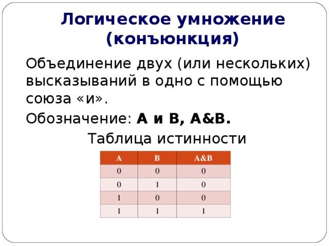 Логическое умножение (конъюнкция) Объединение двух (или нескольких) высказываний в одно с помощью союза «и». Обозначение: А и В, А & В. Таблица истинности А 0 В 0 0 А & В 0 1 1 1 0 0 0 1 1