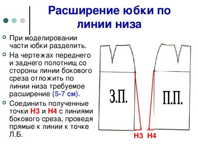 Расширение юбки по линии низа При моделировании части юбки разделить. На чертежах переднего и заднего полотнищ со стороны линии бокового среза отложить по линии низа требуемое расширение (5-7 см). Соединить полученные точки Н3 и Н4 с линиями бокового среза, проведя прямые к линии к точке Л.Б.  Н3 Н4