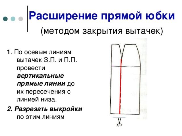 Расширение прямой юбки   (методом закрытия вытачек)  1 . По осевым линиям вытачек З.П. и П.П. провести вертикальные прямые линии до их пересечения с линией низа. 2. Разрезать выкройки по этим линиям