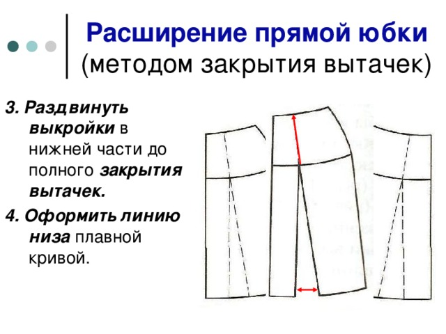 Расширение прямой юбки   3. Раздвинуть выкройки в нижней части до полного закрытия вытачек. 4. Оформить линию низа плавной кривой.