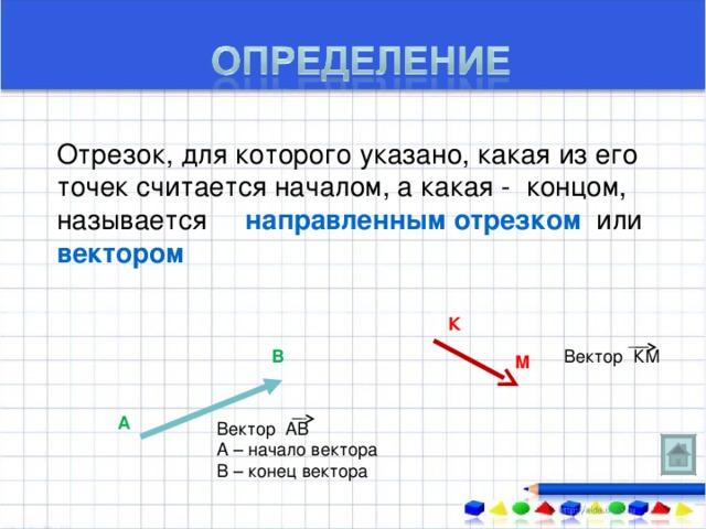 Отрезок, для которого указано, какая из его точек считается началом, а какая - концом, называется направленным отрезком или вектором К В М А