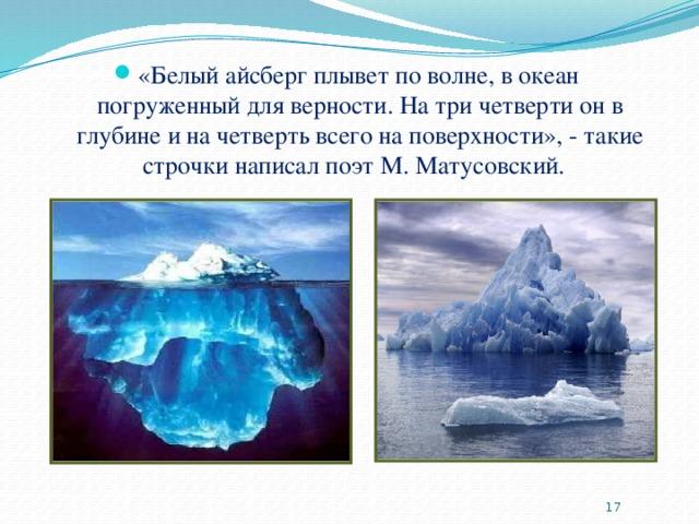 «Белый айсберг плывет по волне, в океан погруженный для верности. На три четверти он в глубине и на четверть всего на поверхности», - такие строчки написал поэт М. Матусовский.