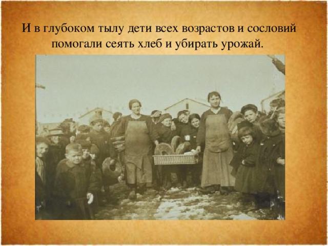 И в глубоком тылу дети всех возрастов и сословий помогали сеять хлеб и убирать урожай.