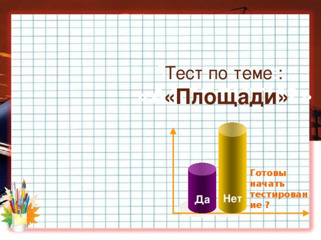 Тест по теме :  «АЛГОРИТМ?»  Тест по теме :  «Площади» Нет Да Готовы начать тестирование ?