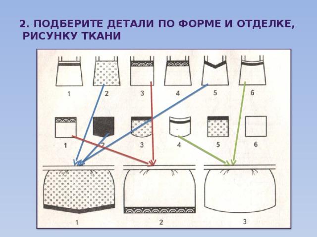 2. подберите детали по форме и отделке,  рисунку ткани