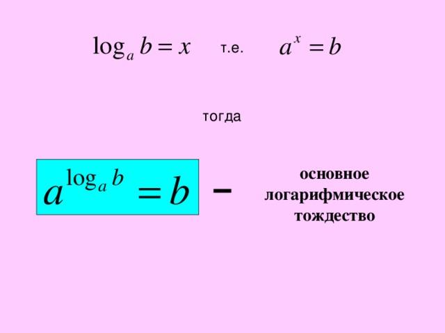 т.е. тогда основное логарифмическое тождество