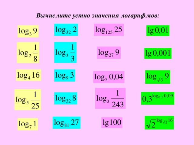 Вычислите устно значения логарифмов: