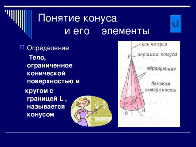 Понятие конуса  и его элементы Определение  Тело, ограниченное конической поверхностью и  кругом с границей L , называется конусом