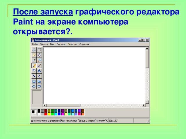 После запуска графического редактора Paint на экране компьютера открывается?.