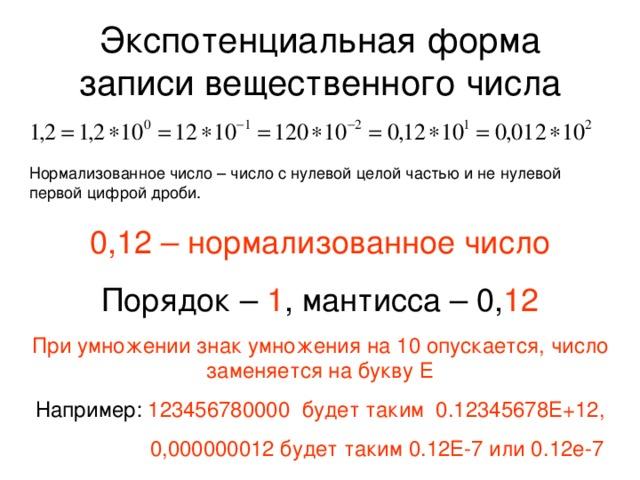 Экспотенциальная форма записи вещественного числа Нормализованное число – число с нулевой целой частью и не нулевой первой цифрой дроби. 0,12 – нормализованное число Порядок – 1 , мантисса – 0, 12 При умножении знак умножения на 10 опускается, число заменяется на букву Е Например: 123456780000 будет таким 0.12345678Е+12,  0,000000012 будет таким 0.12Е-7 или 0.12е-7