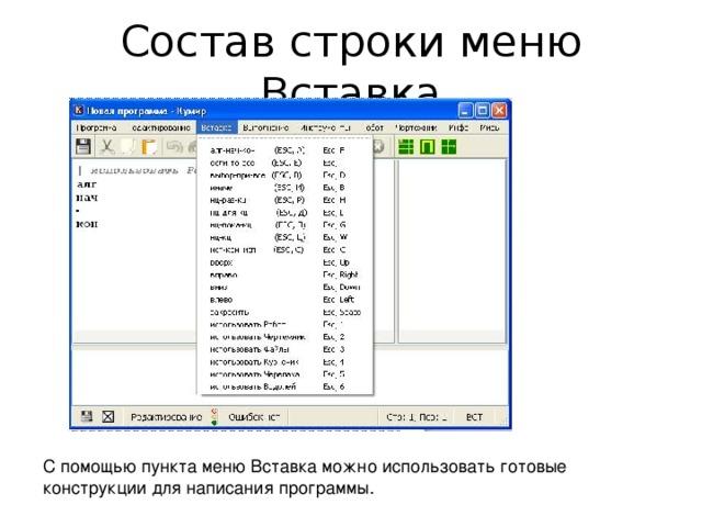 Состав строки меню Вставка С помощью пункта меню Вставка можно использовать готовые конструкции для написания программы.
