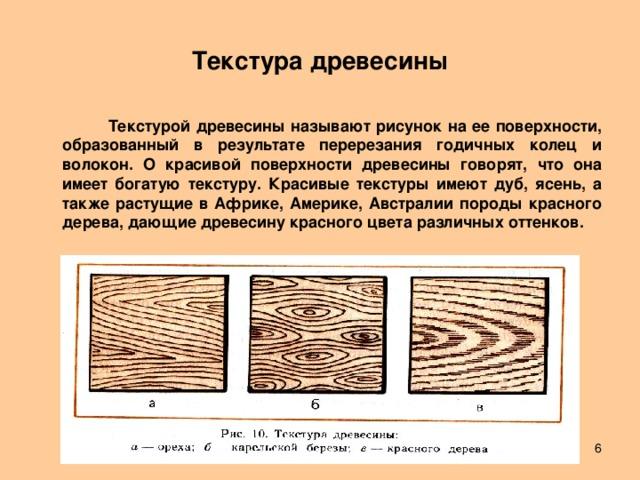 Текстура древесины  Текстурой древесины называют рисунок на ее поверхности, образованный в результате перерезания годичных колец и волокон. О красивой поверхности древесины говорят, что она имеет богатую текстуру. Красивые текстуры имеют дуб, ясень, а также растущие в Африке, Америке, Австралии породы красного дерева, дающие древесину красного цвета различных оттенков.   Лешуков Сергей Иванович
