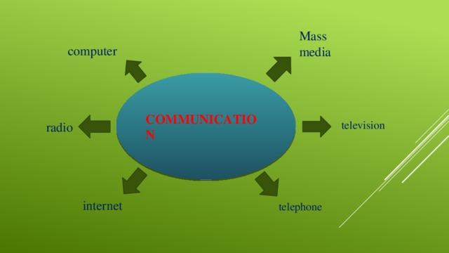 Mass media computer COMMUNICATION television radio internet telephone
