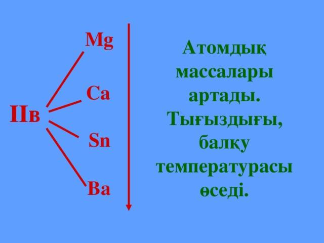 Mg Атомдық массалары артады. Тығыздығы, балқу температурасы өседі.  Ca ІІв  Sn  Ba