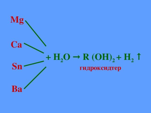 Mg  Ca + Н 2 О → R (OH) 2 + H 2 ↑  Sn гидроксидтер  Ba