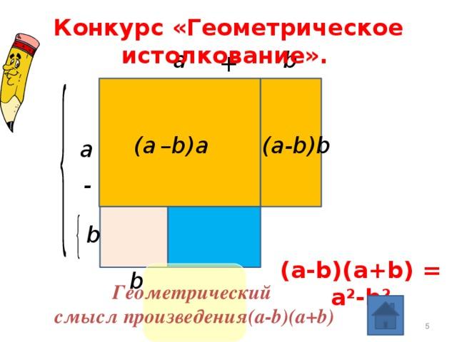 Конкурс «Геометрическое истолкование».  a b + (a  –b)a (a-b)b  a - b (a-b)(a+b) = a 2 -b 2 Геометрический b смысл произведения(a-b)(a+b)