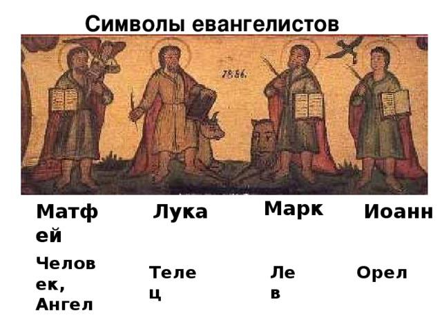 Символы евангелистов  Марк Матфей Лука Иоанн  Человек, Ангел Лев  Телец Орел