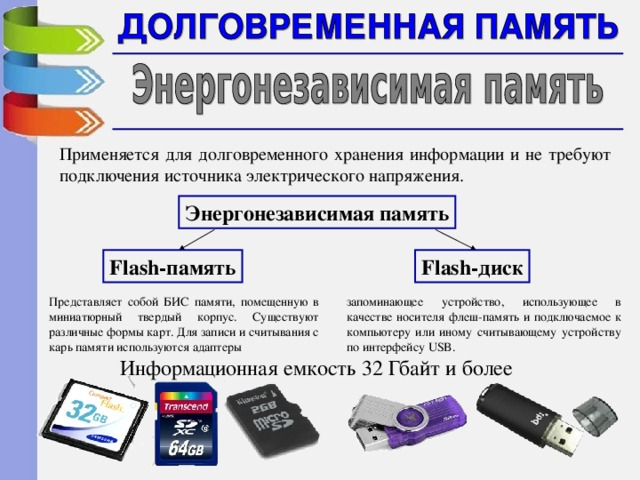 Применяется для долговременного хранения информации и не требуют подключения источника электрического напряжения. Энергонезависимая память Flash- диск Flash- память запоминающее устройство, использующее в качестве носителя флеш-память и подключаемое к компьютеру или иному считывающему устройству по интерфейсу USB. Представляет собой БИС памяти, помещенную в миниатюрный твердый корпус. Существуют различные формы карт. Для записи и считывания с карь памяти используются адаптеры Информационная емкость 32 Гбайт и более