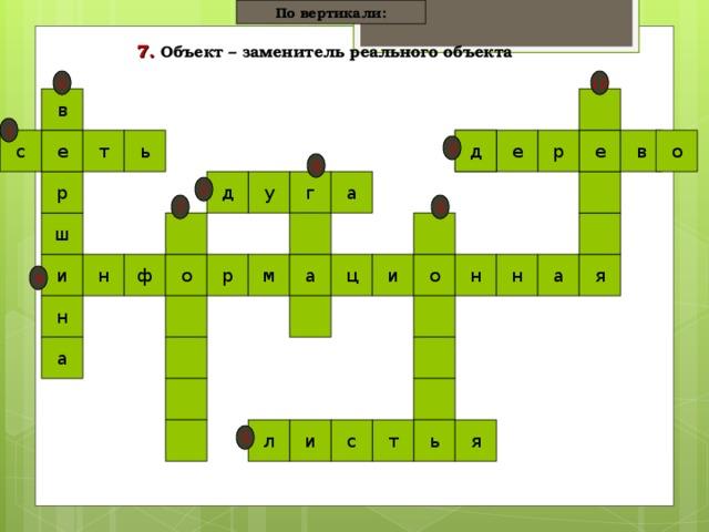По вертикали: 7.  Объект – заменитель реального объекта  10 6 в 1 ь т с е е е р е д в о 3 8 г д у а р 2 9 7 ш ц н н о и и а а м р н о ф я 4 н а я л и с т ь 5