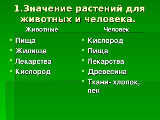 1.Значение растений для животных и человека.   Животные Человек