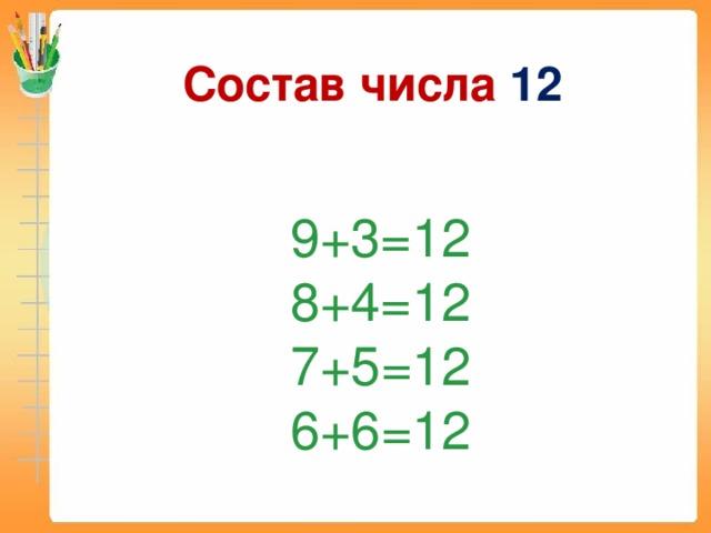 Состав числа 12 9+3=12 8+4=12 7+5 =12 6+6 =12
