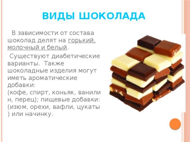 Виды шоколада  В зависимости от состава шоколад делят на горький, молочный и белый .  Существуют диабетические варианты. Также шоколадные изделия могут иметь ароматические добавки: (кофе,спирт,коньяк,ванилин,перец); пищевые добавки: (изюм,орехи,вафли,цукаты) или начинку.
