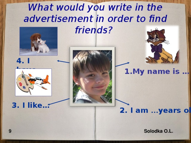 What would you write in the advertisement in order to find friends?  4. I have... 1.My name is … 3. I like… 2. I am … years old 9 Solodka O.L.