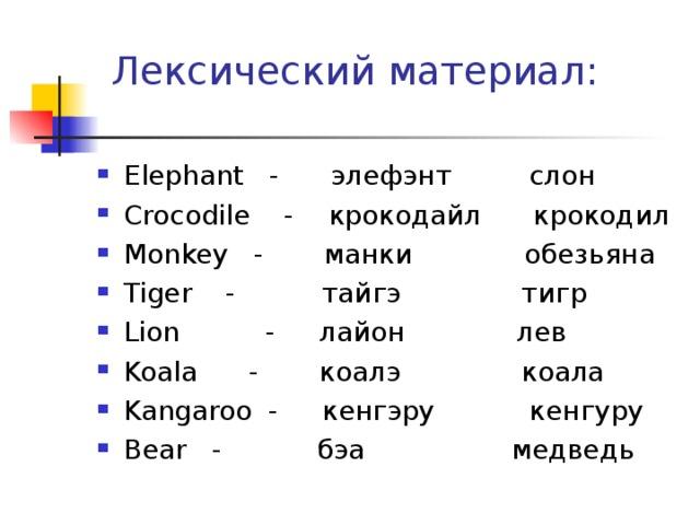 Лексический материал: