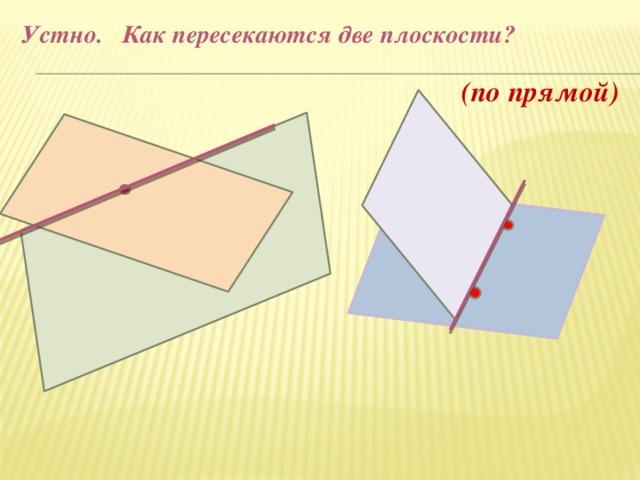 Устно. Как пересекаются две плоскости? (по прямой)