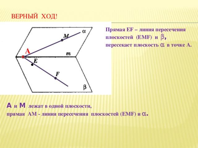 ВЕРНЫЙ ХОД! Прямая EF – линия пересечения плоскостей (EMF) и  , пересекает плоскость   в точке А. А А и М лежат в одной плоскости, прямая АМ - линия пересечения плоскостей (EMF) и  .